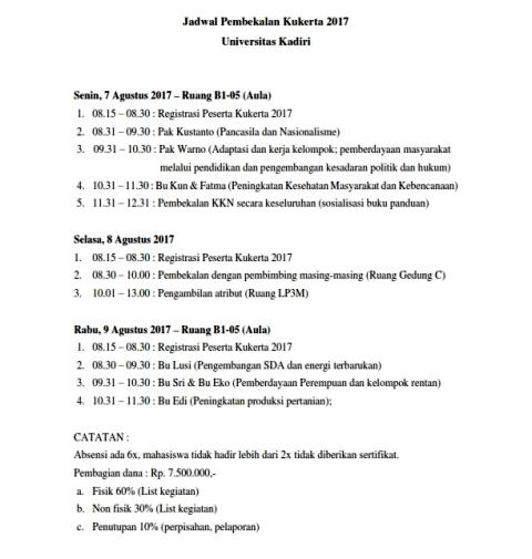 Jadwal Pembekalan KUKERTA 2017